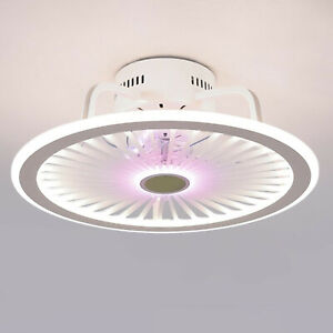 Modern Remote Control Indoor Flush Mount Grid Ceiling Fan w/Dimmable LED Light