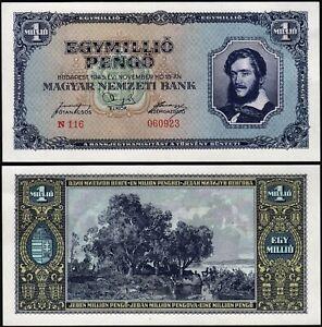 Hungary, 1000000 1,000,000 1 Million Pengo, 1945, UNC but AU, P-122
