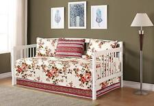 Fancy Linen 5pc Day Bed Cover Floral Beige Pink Green Reversible New