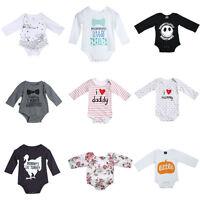 Newborn Infant Baby Girl Boy Romper Bodysuit Long Sleeve Jumpsuit Outfit Clothes