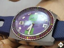 Vintage Style Zodiac Sea Dragon ZS2925 Chronograph Diver Watch Purple Green Dial
