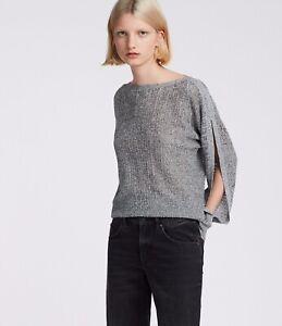 AllSaints Womens Grey Cotton Elle Open Shoulder Jumper Size L