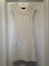 BCBG MAX AZRIA Ivory Cream Cotton Crochet Lined Knit Mini Dress, Sz XXS EUC !