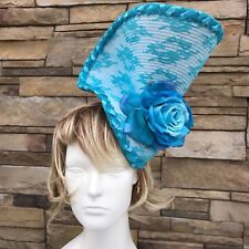 Blue dramatic Fascinator on headband.Handmade in NY. Derby Day,Oaks Day.One size