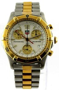 TAG HEUER PROFESSIONAL 2000 CK1121.BB0329 CHRONOGRAPH 18K GOLD TONE MENS WATCH