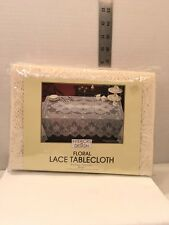 """FLORAL WHITE LACE TABLECLOTH NIB 60"""" x 86"""" Interiors By Design"""