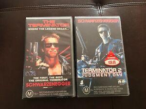 Vintage Original TERMINATOR & T2 Judgement Day Movies VHS Home Video Sci Fi