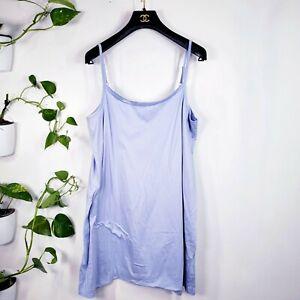 HANRO Blue Lightweight Bodycon Slip Dress L Ultralight Camisole sleepwear
