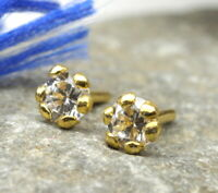 Indian Style CZ Studded EAR Studs PAIR 14k Solid Real Gold Push Pin