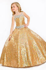 Gold Fashion Flower Girls Dress Princess Dazzling Wedding Party Ball Gown
