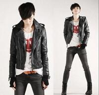 New Fashion Mens Punk PU Leather Motorcycle Slim Fit Coat Jacket Zipper Outwear