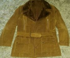 NICE Vintage Brown Corduroy Winter Coat/Jacket XL Faux Fur Lining~Great Accents