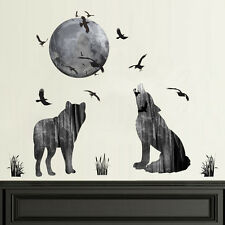 Removable Howling Wolf and Moon Wall Decal Wall Sticker Waterproof Art Decor