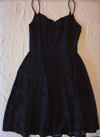 J Crew Dress 0 Eyelet Stripe Sundress NAVY A6588 $148 NEW NWT