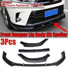 For Toyota Highlander 2017-2019 Front Bumper Lip Molding Cover Trim Matte Black