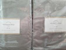 "2 Pottery Barn Silk Dupioni Pole Pocket Drapes ~ 50"" X 96"" ~ PLATINUM GRAY"