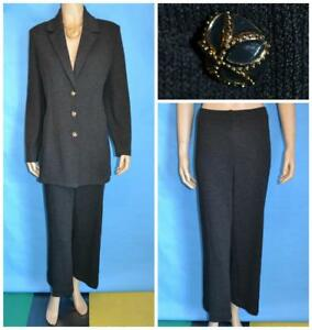 St John Collection Knits Gray Jacket Pants L 12 10 2pc Suit Gold Buttons