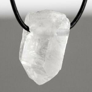 Bergkristallspitze Anhänger Edelsteine Bergkristall Spitze gebohrt mit Lederband