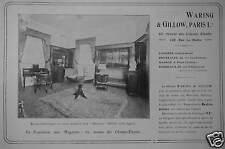 PUBLICITÉ 1910 WARING & GILLOW PARIS EXPOSITION DE MEUBLES ANCIENS - ADVERTISING