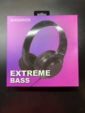 Magnavox Black Foldable 3.5mm Stereo Headphone w/ Extreme Bass for Phone or ACCS