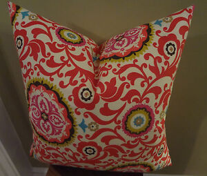 Decorative Pillow Cover Geometric Floral Red White Pink Yellow Blue Brown