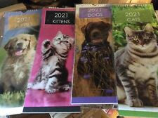 2021 CALENDAR SLIMLINE MONTH VIEW CATS,KITTENS,DOGS,PUPPIES.