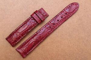 18mm/16mm Burgundy Genuine Crocodile Alligator Skin Leather Watch Strap Band #T3