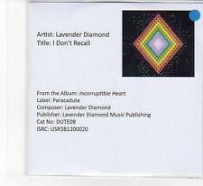 (FB348) Lavender Diamond, I Don't Recall - 2013 DJ CD