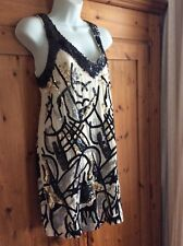 stunning french connection cream blue black and gold  squine  dress size 12 wowi
