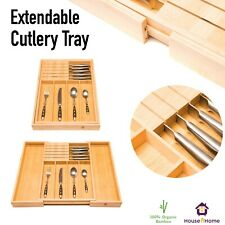 Bamboo Expandable Cutlery Tray Holder Tidy Drawer Organiser with Knife Block New