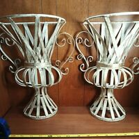 """PAIR OF ANTIQUE STYLE URN MOTIF DECORATOR WALL SCONCES large 12"""" x 10"""" excellent"""