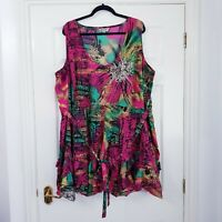 ❤ JOE BROWNS Ladies Size 32 Pink Green Multi Abstract Print Layered Belted Dress