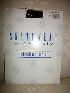 Capezio Footless Skating Tights Black Microfiber 1813C Dance New In Package