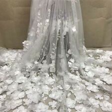 1 Yard 3D Flowers Beaded Embroidery Tulle Mesh Lace Fabric For Bridal Dress DIY