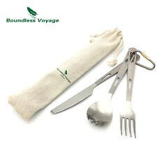 Boundless Voyage 3pcs Titanium Camping Fork Knife Spork Utensil Set Ti1538B