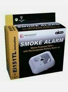 Aico Ei151TL Ionisation Smoke Alarm 230V Mains Powered Battery BackUp + 157 Base