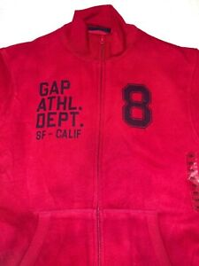 NWT Gap Kids Boys Zip Up Red Sweater Cotton Soft Athletics Size XXL (14-16) K231