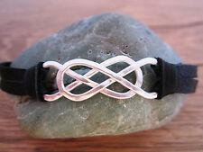 YOLLA Double Infinity Bracelet - Pure Sterling Silver & Black Deerskin Leather