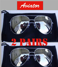 2 Pairs Men Classic Mirror Top Gun Aviator Biker Silver Sunglasses