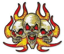 SKULL / TOTENKOPF / FLAMES / FLAMMEN AUFBÜGLER / EMBROIDERY PATCH # 4