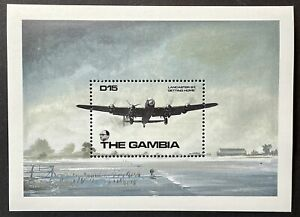 GAMBIA WORLD WAR II STAMPS SS 1990 MNH WWII AIRPLANE MILITARY AIRCRAFT LANCASTER