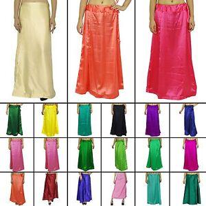 Satin Silk Saree Petticoat Unterrock Rock Kleid Indian Sari Innerwear-PTC39A