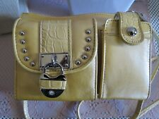 Kathy Van Zeeland Organizer Bag with Croco Embossed Trim- Lemon