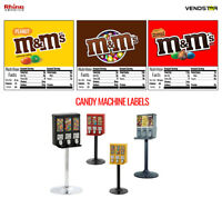 "(3) CANDY VENDING MACHINE STICKERS LABELS - NUTRITION INFO - M&Ms - 2.5"" x 2.5"""