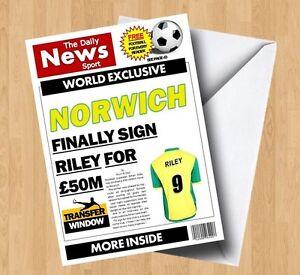 Personalised Norwich City Football Birthday Card