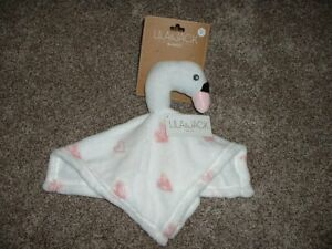Lila & Jack Swan Security Blanket White Pink Heart Fleece Baby Girl Lovey NWT