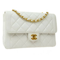CHANEL Classic Single Flap Medium Chain Shoulder Bag 3803046 White Leather 37217