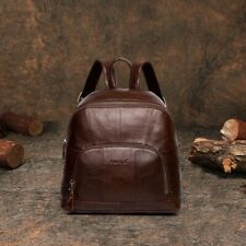 Women Leather Backpack Vintage Genuine Leather Small Mini Zipper Shoulder Bags