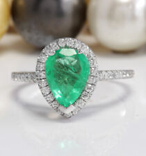 1.78 Ct Natural Colombian Emerald and Diamonds 14K Solid White Gold Women Ring
