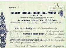 Chatra Cottage Industrial Works Ltd., Calcutta 1945, VF